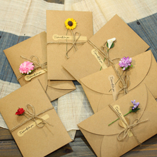 1pcs Sample Craft Paper Flower Wedding Invitations Card Personalized Custom with Ribbon Free Envelope & Seals Party Supplies