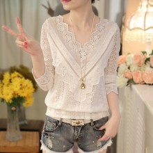 2016 hot sale new arrival Spring and autumn Korean fashion women blouse V neck long sleeve slim lace female shirt 63C 30(China)