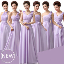light purple bridesmade lavender braidsmaid dresses lilac chiffon dress women party gowns custom made side free shipping B1511