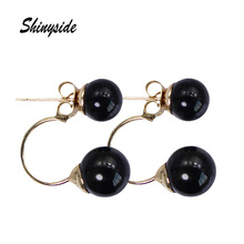 new design fashion jewelry elegant double imitations pearl stud earrings for women metal beads statement earrings