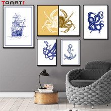 Nautical Sail Boat Octopus Crab Canvas Painting Wall Art Blue Pictures Posters Prints Nordic for Kids Rooms Home Decor No Frame