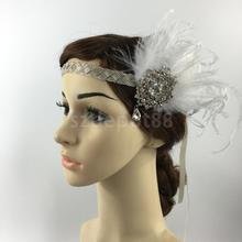Feather Fascinator Flapper Headband Headpiece White Headwear Hair Accessories For Women(China)