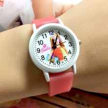 Wholesale 100PCS/LOT Cute Barbee Children Cartoon Watches Quartz Girls Glow In The Dark Flourescent Silicone Jelly Kids Watches