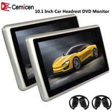 Cemicen 2PCS 10.1 Inch Car Headrest Monitor DVD Player Support HD1080P Video USB/SD Built-in IR/FM Transmitter Speaker(China)