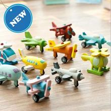 NEW 12pcs/lot Kids wooden airplane toys with all different color and pattern/ Wooden Complete Set Of Mini Helicopter vehicle Toy(China)