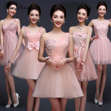 C.V 2017 women new fashion Bridesmaid dresses pink short vestido madrinha graduation sisters bridesmaid dress slim summer dress