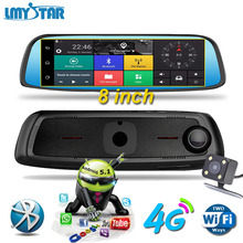 LMYSTAR 8' inch Car DVR Camera GPS Navigator Rearview Mirror Auto DVR Dual Lens Dash Cam Recorder WIFI Bluetooth Full HD 1080p(China)