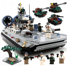 2017 new  Boys toys Large Buffalo Hovercraft Marine Building Block 928pcs Military Building Blocks Set Children Education Toys