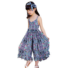 Children's vest dress girls summer wear floral wide-legged culot dress Bohemia jumpsuits euramerican style dress teenage costume