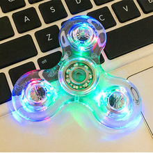 New Spinner LED Flashing Color Creative Fidget Spinner LED ABS Plastic EDC Toys Hand Spinner LED Spinning Top Anti Stress Toys(China)