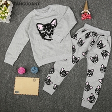 TANGUOANT Girl Clothing Sets Cartoon Cat Sport Suit Kids Sweater Spring And Autumn Long T shirt+Pants Hot Sale girls clothes set(China)