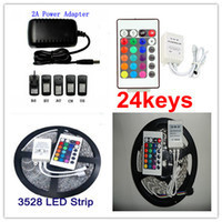 5M 12V RGB 3528SMD Non-Waterproof LED Strip Light Lamp 60LEDs/M+24W Power Adaper Supply ,Only RGB/Changeable with IR Controller