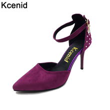 Kcenid Plus size 43 spring fashion pumps women shoes green high heels 9cm pointed toe ankle strap rhinestone lady single shoes
