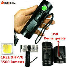 2017 SHUO LI DE New USB Rechargeable 3500 lumens CREE XHP70 LED torch Flashlight led lamp  Using 3*18650 battery