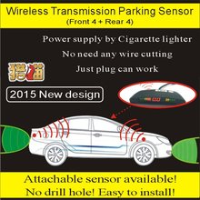 high quality car front rear 8 parking sensor system cigartte charge power supply easy installation wireless parking sensor