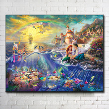 Thomas cartoon colorful fish girl rainbow scenery canvas printings oil painting printed on canvas wall art decoration picture