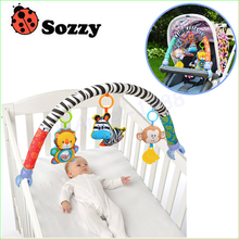 1pcs Sozzy baby hanging baby blue elephant and pink bunny music toy Baby Bed & Stroller Toy Baby Rattle(China)