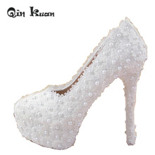 Qin Kuan Ladies Platform Bridals Shoes Pearl High Heels Pumps White Wedding Shoes Women Bridal Stilettoes Sexy Heels 33-42