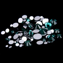Crystal Rhinestones For Nails Art 288pcs ss30 6.3-6.5mm Emerald Color Non Hot Fix Flatback Strass Diamonds Diy Jewelry Making(Hong Kong)