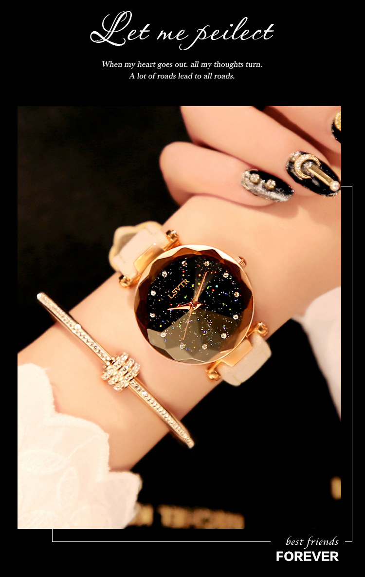 18 Luxury Brand Gogoey Women Watches Personality romantic starry sky Wrist Watch Leather Rhinestone Designer Ladies Red Clock 21