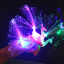 Hot 1Pcs Cute Night Discolor Finger Light Peacock Electronic Toys Party Bar Novelty Supplies Kids Baby Children Toy Gifts 2017(China)