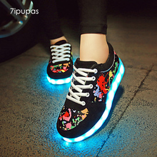 7ipupas 11 colors led luminous shoes lovers led shoes for boys girls unisex glowing sneakers usb Light lumineuse sneakers kids