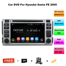 6.2 Inch HD Quad Core Car DVD GPS Player Android 5.11 for Hyundai Santa fe 2005 car radio navigation for Santa fe BT RDS WIFI(China)