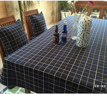 American Multisize fabric blue dining tablecloth linen dark checks Northern Europe table cover plaid natural lattice rectangle