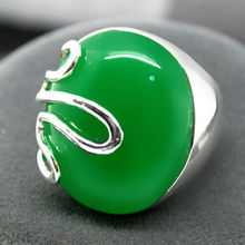 17*21mm VINTAGE NATURAL GREEN JADE GEM RICH LUCKY 925 SILVER RING SIZE 7-10