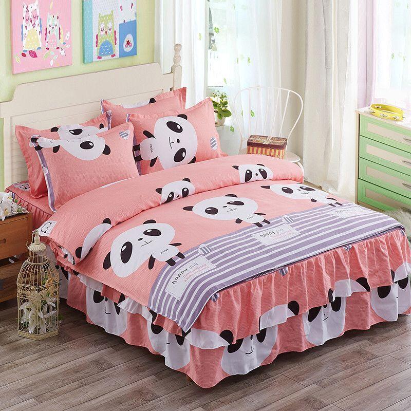 3d Floral Flower Bedding Sets Panda Animal Bed Skirt Duvet Cover Set