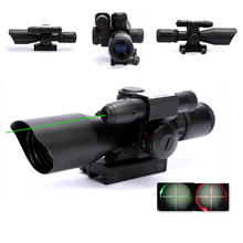 2.5-10x40 Tactical Riflescope Hunting Red & Green Dot Illuminated Mil Dot Rifle Scope with Green Laser Sight Rail Mount