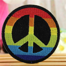 Embroidery iron on patches for clothes Fashion cute 6.4cm peace logo deal with it clothing DIY Motif Applique Free shipping