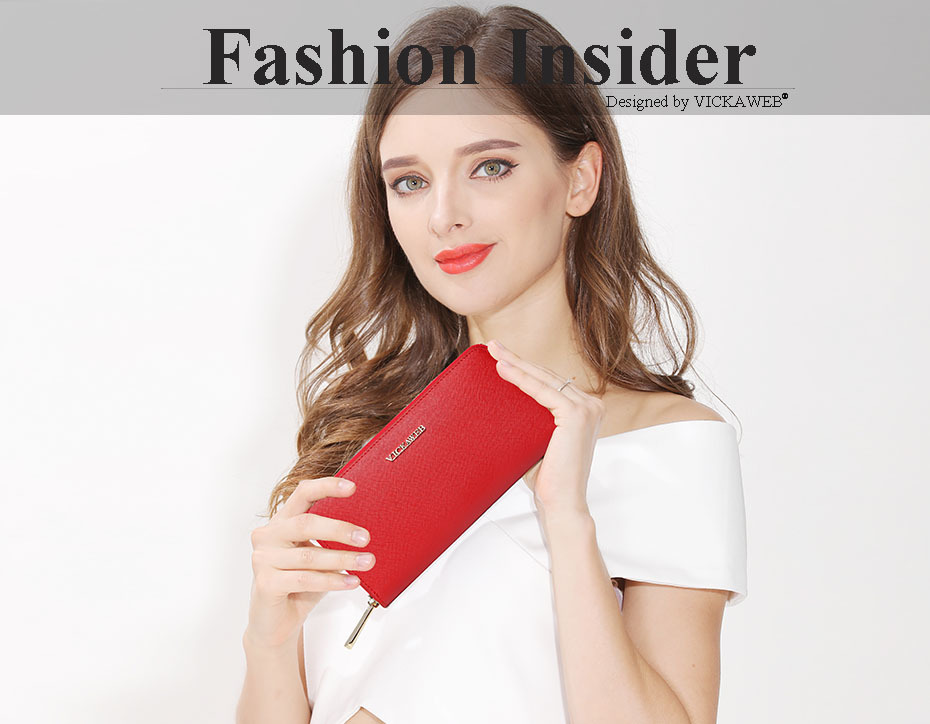 VICKAWEB Big Female Wallet Solid Women Wallets Genuine Leather Zipper Long Purses New Standard Wallets Fashion Ladies Purse 06-VICKAWEB06-001