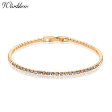 6 colors Gold Color Cluster Rhinestones Crystals Slim Tiny Tennis Chain Bracelets Jewelry for Women Girls Pulseira feminina(China)