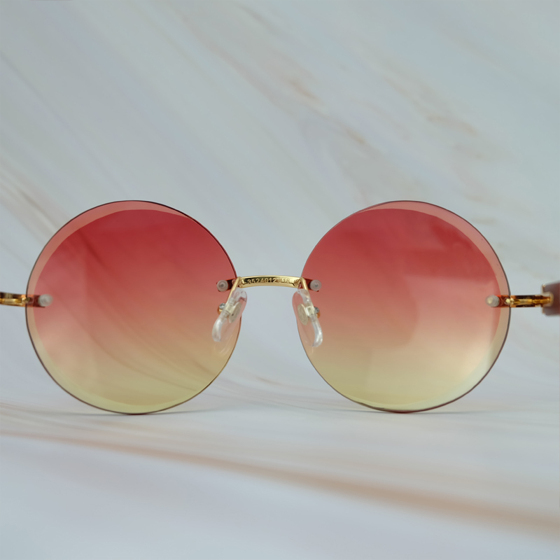2018 Vintage Retro Big Rimless Frame Colorful Yellow Pink UV400 Protect Brand Designer Sunglasses For Men And Women Round Shades (1)