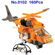 Sluban 0102 160Pcs City Series Passenger Airport Emergency Rescue Helicopter Building Block Brick Toy