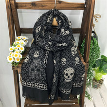 180x100cm New Design Diamond Skull Printed Scarf Fashion Punk Ladies Black Skull Shawls Wrap Rap Women Cotton Fringe Scarf YG420(China)