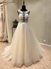 Buy New Elegant Long Wedding Dress 2018 Scoop Backless A-Line Court Train Appliques Tulle China Bridal Gowns Vestido de noiva longo for $194.35 in AliExpress store