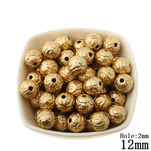50pcs/lot Spray Gold Plastic Beads Pattern Acrylic Straight Hole Bead for Women and Men Jewerly Making Decoration Accessories