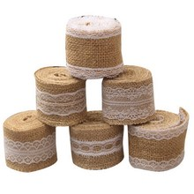 Festival 2M Natural White Jute Edge Burlap Hessian Tape Rustic Ribbon With Trims Vintage Wedding Decoration Party