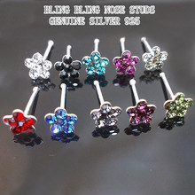 REAL SILVER 925 NOSE STUDS HOOPS BODY PEIRCING JEWELRY FOR WOMAN, BEAUTIFUL SHAPE AND VERY SHINNING  CZECH DIAMONDS PAVED