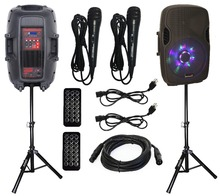 "STARAUDIO 2Pcs 15"" 2500W Pro Powered/Active PA DJ USB SD BT FM LED RGB Light Stage Speakers W/ 2 Stands 2 Wired Mics SPW-15RGB"