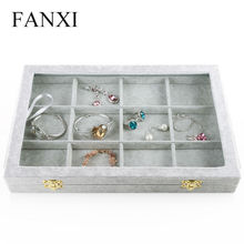 FANXI Free shipping custom MDF wrapped with gray velvet jewellery case with transparent lid and metal hinge bangle jewelry trays