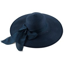 MAKE Hot Navy Blue Self Tie Bow Wide Style Of Round Brim Beach Wear Straw Hat For Ladies(China)