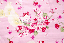 hk158A - 1 Yard Japanese Cotton Slub Fabric - Sanrio Cartoon Characters, Hello Kitty and Calla Lily - Pink (W140)