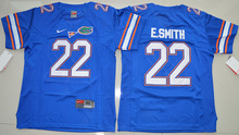 New Arrival High Quality Nike Florida Gators E.Smith 22 College T-shirt Jersey - Royal Blue Size S,M,L,XL