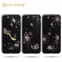 2017 Newest High Quality Electroplate Black Hard PC Phone Case For Apple iPhone 7 7 Plus With Crystals from Swarovski Back Cove