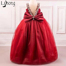 Burgundy Flower Girls Wedding Party Dresses Long Ball Gown Lovely Flower Girl Dress Long Organza Baby Girl Toddler Pageant Gowns(China)