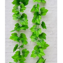 1pcs 2.4m Artificial Ivy Grape Leaves Vine Foliage Grape Leaves Plants For Home Garden Garland Outside Decoration(China)