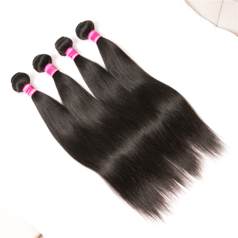 Luduna Brazilian Virgin Hair Straight 100% Unprocessed Human Hair Weave Bundles Natual Color Can Buy 3 Or 4 Bundles Together